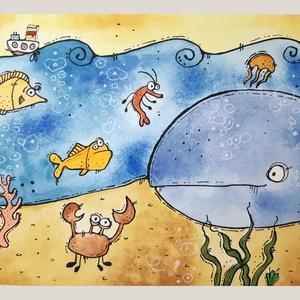 Élet a tenger fenekén, Otthon & lakás, Képzőművészet, Illusztráció, Grafika, Rajz, Napi festmény, kép, Festészet, Fotó, grafika, rajz, illusztráció, Limitált számú digitális printek különböző saját grafikákkal, szignózva.\n\n(Ha az eredeti festményt s..., Meska