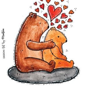 Kis medve nagy medve, Művészet, Grafika & Illusztráció, Fotó, grafika, rajz, illusztráció, Mondd el rajzzal!\nFejezd ki a szeretetedet cuki medvékkel!\nAkaszd ki akár otthon a faladra, vagy add..., Meska