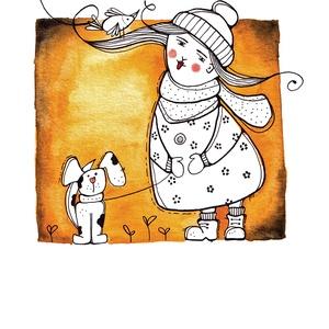 Őszi séta, Otthon & Lakás, Dekoráció, Kép & Falikép, Festészet, Fotó, grafika, rajz, illusztráció, Ha van kutyád, tudod milyen az őszi, borongós, vastag sálas séta. Hangulatos. Ahogy ez az erről szól..., Meska