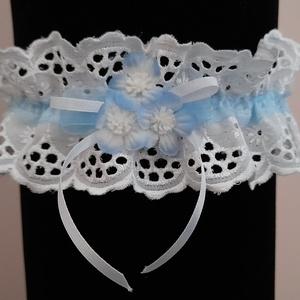 Kék- fehér harisnyakötő, Esküvő, Kiegészítők, Harisnyatartó & Valami kék, Varrás, Meska