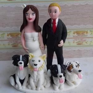 Kutyusos nászpàr pocaklakóval :) , Asztaldísz, Dekoráció, Esküvő, Mindenmás, Ha úgy érzed, hogy feldobnád az Esküvőd valami nem hétköznapival, akkor a legjobb helyen jársz! :)\nE..., Meska