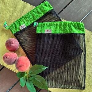 Zöld- fekete textilzsák, környezettudatos vásárlóknak, 2 darabos szett, Táska & Tok, Zöldség/Gyümölcs zsák, Bevásárlás & Shopper táska, Varrás, Az egyszer használatos nylon zacskókat végre lecserélhetjük textilzsákokra.  Erősek és  mindennapi ..., Meska
