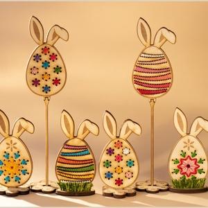 Húsvéti dekoráció, 6 darabos csomag, hímzett tojás dísz, Otthon & Lakás, Dekoráció, Dísztárgy, Gravírozás, pirográfia, Hímzés, Dekoratív, különleges Húsvéti tojás díszek, ünnepi alkalomra. Lakás díszítésre vagy ajándéknak is ki..., Meska