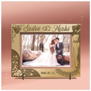 Esküvői ajándék, házasságkötésre, egyedi képkeret rendelhető, tetszőleges névvel, felirattal, grafikával, Esküvő, Emlék & Ajándék, Nászajándék, Gravírozás, pirográfia, Amennyiben különleges, névreszóló ajándékot szeretnél,\negy ilyen vagy ehhez hasonló képkeretet készí..., Meska