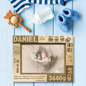 Babaszületésre, egyedi ajándék, névreszóló képkeret rendelhető, Otthon & Lakás, Dekoráció, Képkeret, Gravírozás, pirográfia, Amennyiben különleges, névreszóló ajándékot szeretnél,\negy ilyen vagy ehhez hasonló képkeretet készí..., Meska