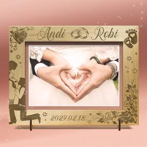 Esküvőre, eljegyzésre, házassági évfordulóra egyedi képkeret rendelhető, tetszőleges névvel, felirattal, grafikával, Esküvő, Emlék & Ajándék, Nászajándék, Gravírozás, pirográfia, Amennyiben különleges, névreszóló ajándékot szeretnél,\negy ilyen vagy ehhez hasonló képkeretet készí..., Meska