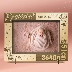 Keresztelőre, babalátogatóba, babaszületésre egyedi ajándék, névreszóló képkeret rendelhető, Otthon & Lakás, Dekoráció, Képkeret, Gravírozás, pirográfia, Amennyiben különleges, névreszóló ajándékot szeretnél,\negy ilyen vagy ehhez hasonló képkeretet készí..., Meska