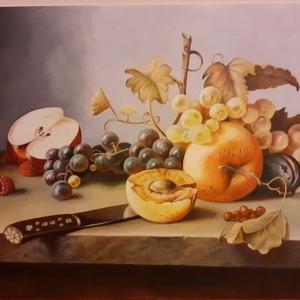 Olajfestmény: Gyümölcscsendélet, Otthon & lakás, Képzőművészet, Festmény, Olajfestmény, Festészet, Olajfestmény, vászonra, keret nélkül, aláírással ellátott, 30x40cm., Meska