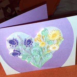 Köszöntőlap és ajándékkísérő, Ajándékkísérő, Papír írószer, Otthon & Lakás, Papírművészet, Újrahasznosított alapanyagból készült termékek, Bármilyen alkalomra egyedi ajándék, mely virág vagy ajándék mellé is adhatő. Quilling technikával ké..., Meska