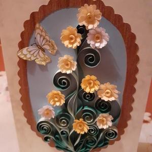 Köszöntőlap és ajándékkísérő, Ajándékkísérő, Papír írószer, Otthon & Lakás, Papírművészet, Újrahasznosított alapanyagból készült termékek, Egyedi ajándék akár virághoz, vagy ajándék mellé kísérőnek. Quilling technikával készült, belseje ny..., Meska