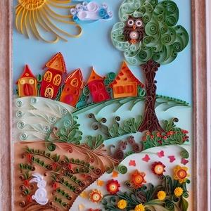 Falikép és szekrényre is állítható kép, Gyerek & játék, Gyerekszoba, Baba falikép, Otthon & lakás, Dekoráció, Kép, Papírművészet, Fotó, grafika, rajz, illusztráció, Gyerekszoba falára vagy szekrényre is állítható kép, mely quilling technikával készült, ez papírcsík..., Meska