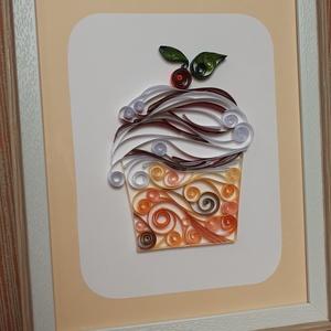 Falikép konyhába, vendéglőbe, Kép & Falikép, Dekoráció, Otthon & Lakás, Papírművészet, Falikép, mely papírcsík (quilling) technikával készült. A kívánt forma a papírcsíkok felragasztása s..., Meska