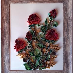 Falikép papírcsík technikával, Kép & Falikép, Dekoráció, Otthon & Lakás, Papírművészet, A falikép papírcsík, vagyis quilling technikával készült, melynek mérete: 24,5 x 29,5 cm. Kerettel e..., Meska
