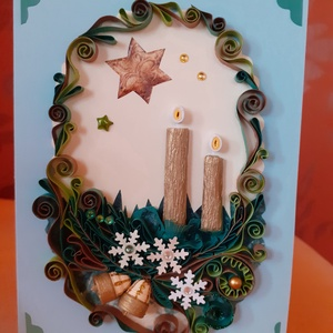 Karácsonyi képeslap, Képeslap & Levélpapír, Papír írószer, Otthon & Lakás, Papírművészet, Quilling technikával készült lap. Belseje nyitható, szöveg írható bele. Mérete: 10 x 15 cm. A dekorá..., Meska