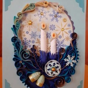 Karácsonyi képeslap, Otthon & Lakás, Karácsony & Mikulás, Karácsonyi képeslap, Papírművészet, Belseje nyitható, bele szöveg írható. Mérete: 10 x 15 cm. Ajándékkísérőnek is megfelel, de egyedi aj..., Meska