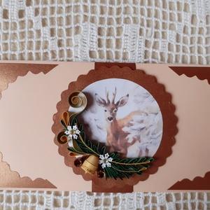 Karácsonyi pénzátadó boríték, Otthon & Lakás, Karácsony & Mikulás, Karácsonyi csomagolás, Papírművészet, Akár papírpénz vagy kisebb ajándék, ékszer átadására is alkalmas. Mérete: 8 x 16 cm.  Több termék vá..., Meska