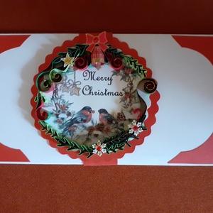Karácsonyi boríték, Karácsony & Mikulás, Karácsonyi csomagolás, Papírművészet, Pénzátadó boríték, mely kisebb ajándék átadására is alkalmas. Akár ékszer is rakható bele. Papírcsík..., Meska