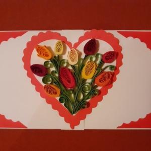 Valentinnapra, esküvőre, nőnapra boríték, Esküvő, Kiegészítők, Papírművészet, A boríték quilling, azaz papírcsík  technikával készült. Mérete: 16 cm x 8,5  cm. Nemcsak papírpénz ..., Meska
