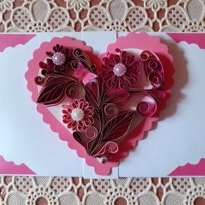Valentinnapra, Nőnapra boríték, Otthon & Lakás, Papír írószer, Boríték, Papírművészet, A boríték quilling technikával készült, melynek mérete: 16 x 8,5 cm. Nemcsak papírpénz, de vásárlási..., Meska