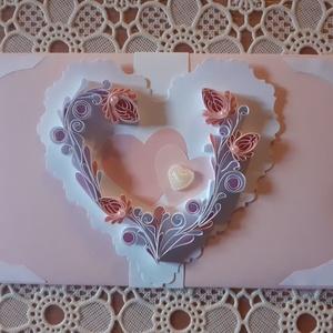 Esküvőre, Valentin napra boríték, Esküvő, Emlék & Ajándék, Nászajándék, Papírművészet, Quilling technikával készült boríték, melynek mérete: 8,7 x 16 cm. Nemcsak papírpénz rakható bele, d..., Meska