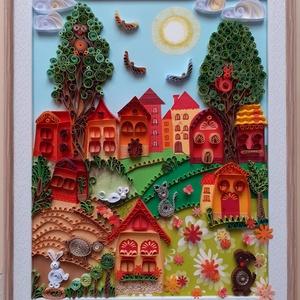 Falikép gyerekszobába, Otthon & Lakás, Dekoráció, Kép & Falikép, Papírművészet, A kép quilling /papírcsík/ technikával készült. Mérete kerettel együtt: 23 x28 cm. A rajta lévő álla..., Meska
