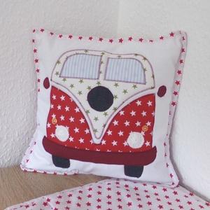 VW buszos párnahuzat (piros) (MariaBodnar) - Meska.hu