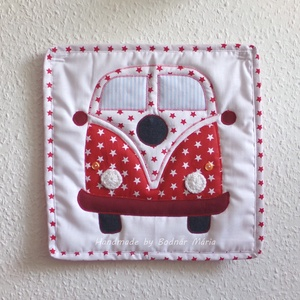 VW buszos textil falikép, Otthon & lakás, Dekoráció, Gyerek & játék, Gyerekszoba, Baba falikép, Kép, Varrás, Horgolás, Pamutvászonból készült textil falikép, melyre VW kisbusz van aplikálva. Strapabíró, gyerekszobába aj..., Meska