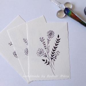 Virág motívum tus rajz (No:1,  3db/csomag), Egyéb, Otthon & lakás, Képzőművészet, Grafika, Rajz, Fotó, grafika, rajz, illusztráció, Törtfehér kézműves hatású papírra üvegtollal, tintával rajzolt kedves kis virágminták. További felha..., Meska