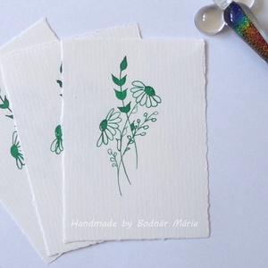 Virág motívum tus rajz (No:2,  3db/csomag), Egyéb, Otthon & lakás, Képzőművészet, Grafika, Rajz, Fotó, grafika, rajz, illusztráció, Törtfehér kézműves hatású papírra üvegtollal, tintával rajzolt kedves kis virágminták. További felha..., Meska