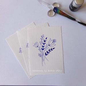 Virág motívum tus rajz (No:3,  3db/csomag), Egyéb, Otthon & lakás, Képzőművészet, Grafika, Rajz, Fotó, grafika, rajz, illusztráció, Törtfehér kézműves hatású papírra üvegtollal, tintával rajzolt kedves kis virágminták. További felha..., Meska