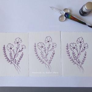 Virág motívum tus rajz (No:4,  3db/csomag), Egyéb, Otthon & lakás, Képzőművészet, Grafika, Rajz, Fotó, grafika, rajz, illusztráció, Törtfehér kézműves hatású papírra üvegtollal, tintával rajzolt kedves kis virágminták. További felha..., Meska