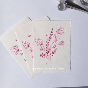 Virág motívum tus rajz (No:5,  3db/csomag), Egyéb, Otthon & lakás, Képzőművészet, Grafika, Rajz, Fotó, grafika, rajz, illusztráció, Törtfehér kézműves hatású papírra üvegtollal, tintával rajzolt kedves kis virágminták. További felha..., Meska