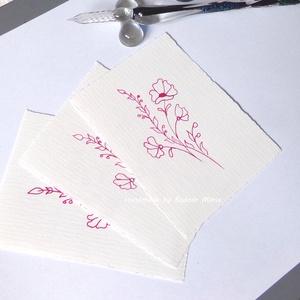 Virág motívum tus rajz (No:6,  3db/csomag), Egyéb, Otthon & lakás, Képzőművészet, Grafika, Rajz, Fotó, grafika, rajz, illusztráció, Törtfehér kézműves hatású papírra üvegtollal, tintával rajzolt kedves kis virágminták. További felha..., Meska
