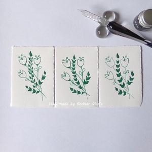 Virág motívum tus rajz (Kicsi.No:2,  3db/csomag), Egyéb, Otthon & lakás, Képzőművészet, Grafika, Rajz, Fotó, grafika, rajz, illusztráció, Törtfehér kézműves hatású papírra üvegtollal, tintával rajzolt kedves kis virágminták. További felha..., Meska
