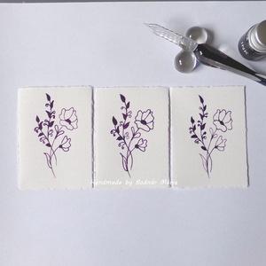 Virág motívum tus rajz (Kicsi.No:4,  3db/csomag), Egyéb, Otthon & lakás, Képzőművészet, Grafika, Rajz, Fotó, grafika, rajz, illusztráció, Törtfehér kézműves hatású papírra üvegtollal, tintával rajzolt kedves kis virágminták. További felha..., Meska