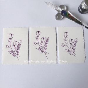 Virág motívum tus rajz (Kicsi.No:5,  3db/csomag), Egyéb, Otthon & lakás, Képzőművészet, Grafika, Rajz, Fotó, grafika, rajz, illusztráció, Törtfehér kézműves hatású papírra üvegtollal, tintával rajzolt kedves kis virágminták. További felha..., Meska