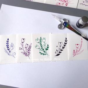 Virág motívum tus rajz (Kicsi,  5db/csomag), Egyéb, Otthon & lakás, Képzőművészet, Grafika, Rajz, Fotó, grafika, rajz, illusztráció, Törtfehér kézműves hatású papírra üvegtollal, tintával rajzolt kedves kis virágminták. További felha..., Meska