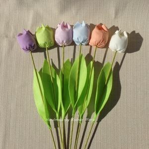 Textil tulipán, pasztell színek (Nagy, 6 db) (MariaBodnar) - Meska.hu