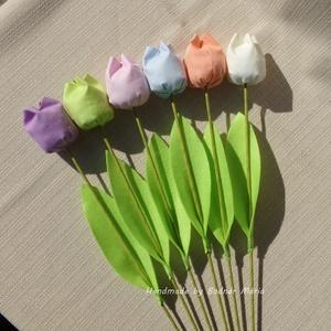 Textil tulipán, pasztell színek (Nagy, 6 db), Csokor & Virágdísz, Dekoráció, Otthon & Lakás, Varrás, 46 cm magas textil tulipán, amely kedves ajándék lehet bármilyen alakalomra. \n\nVirága pamutvászonból..., Meska