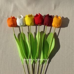 Textil tulipán (Nagy, 6 db), Csokor & Virágdísz, Dekoráció, Otthon & Lakás, Varrás, 46 cm magas textil tulipán, amely kedves ajándék lehet bármilyen alakalomra. \n\nVirága pamutvászonból..., Meska