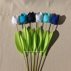 Textil tulipán, kék (Nagy, 6 db), Csokor & Virágdísz, Dekoráció, Otthon & Lakás, Varrás, 46 cm magas textil tulipán, amely kedves ajándék lehet bármilyen alakalomra. \n\nVirága pamutvászonból..., Meska