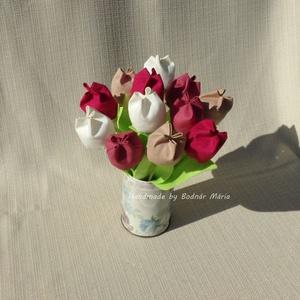 Textil tulipán (12 db, rózsaszín-bézs), Csokor & Virágdísz, Dekoráció, Otthon & Lakás, Varrás, 25 cm magas textil tulipánok, amelyek hosszú ideig hangulatos díszei lehetnek bármely otthonnak.\n\nVi..., Meska