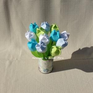 Textil tulipán (12 db, baba-kék), Csokor & Virágdísz, Dekoráció, Otthon & Lakás, Varrás, 25 cm magas textil tulipánok, amelyek hosszú ideig hangulatos díszei lehetnek bármely otthonnak.\n\nVi..., Meska