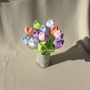 Textil tulipán (12 db, pasztell színek), Csokor & Virágdísz, Dekoráció, Otthon & Lakás, Varrás, 25 cm magas textil tulipánok, amelyek hosszú ideig hangulatos díszei lehetnek bármely otthonnak.\n\nVi..., Meska
