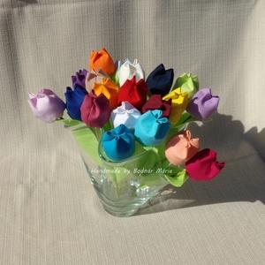 Textil tulipán ( 20 db), Csokor & Virágdísz, Dekoráció, Otthon & Lakás, Varrás, 25 cm magas textil tulipán, amely kedves ajándék lehet bármilyen alakalomra. \n\nVirága pamutvászonból..., Meska