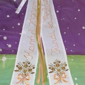 Vőfély szalag, Esküvő, Öv & Pánt, Kiegészítők, Kézzel hímzett vőfély szalag Tradíció hű.  A festett szalaggal szemben érték álló. Mérete 2x10x70 cm..., Meska