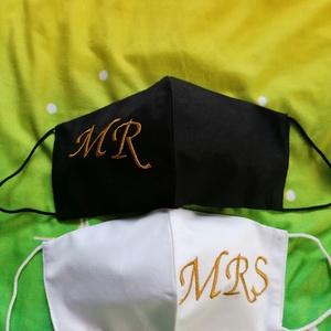 Ifjú  házasok maszk. , Maszk, Arcmaszk, Hímzés, Varrás, Géppel hímzett két rétegű mosható maszk , Meska