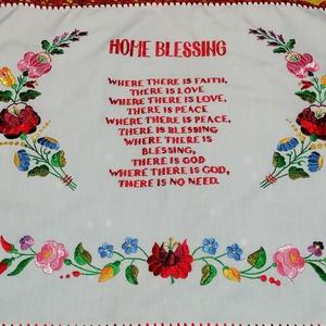 Angol nyelvű házi áldás , Otthon & Lakás, Dekoráció, Falra akasztható dekor, Hímzés, Horgolás, Kézzel hímzett autentikus angol nyelvű házi áldás.\nMérete 40x55 cm, Meska