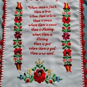 Angol nyelvű házi áldás , Otthon & Lakás, Lakástextil, Falvédő, Kézzel hímzett angol nyelvű házi áldás. Mérete kb35x45 cm Széle kézzel horgolt.  , Meska