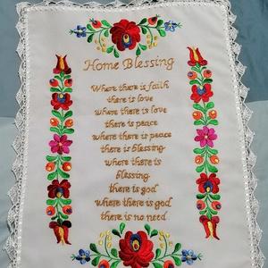 Angol nyelvű házi áldás , Otthon & Lakás, Dekoráció, Kép & Falikép, Hímzés, Horgolás, Kézzel hímzett tradicionális angol nyelvű házi áldás. Széle körbehorgolva. Mérete kb 37x49 cm\n Kivál..., Meska